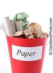 reciclagem, bin-, papel