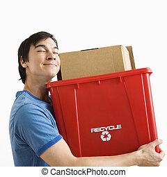 reciclagem, bin., segurando, homem