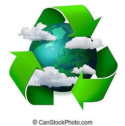 reciclagem, clima, conceito, mudança