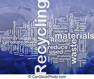 reciclagem, conceito, fundo, materiais