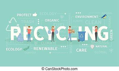 reciclagem, conceito, illustration.