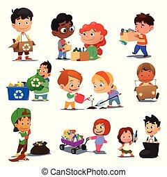 reciclagem, crianças, ilustração