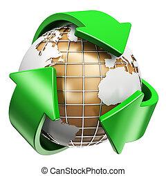 reciclagem, ecologia, e, meio ambiente, proteção, conceito
