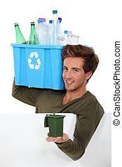 reciclagem, garrafas, homem