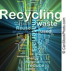 reciclagem, glowing, conceito, fundo, materiais