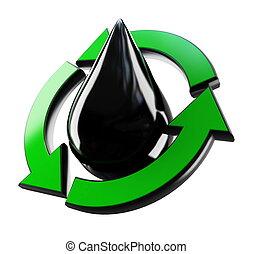 reciclagem, gota, óleo