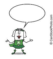 reciclagem, karen, mulher, super, falando