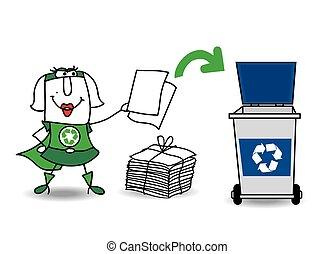 reciclagem, menina, papel, super, recicla
