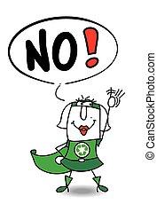 reciclagem, mulher, super, não