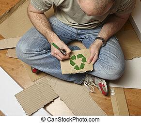 reciclagem, papelão, homem