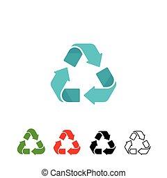 reciclagem, símbolos, vetorial, jogo, isolado, branco, fundo