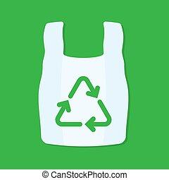 reciclagem, sacola plástica, verde, em branco, branca, sinal