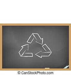 reciclagem, seta, quadro-negro