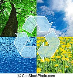 reciclagem, sinal, com, imagens, de, natureza, -, eco,...