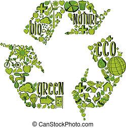reciclagem, verde, símbolo, ícones, ambiental