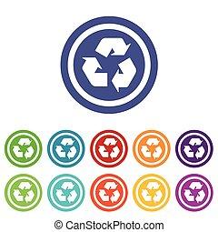 reciclaje, conjunto, coloreado, señales