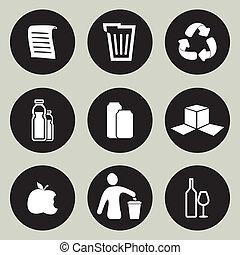 reciclaje, conjunto, icono
