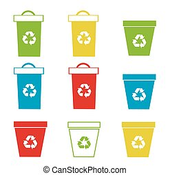 reciclaje, conjunto, vector, cajones, ilustración