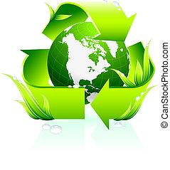 reciclaje de símbolo, con, globo, plano de fondo