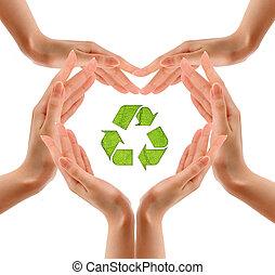 reciclaje de símbolo, en, mano.