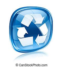 reciclaje de símbolo, icono, vidrio azul, aislado, blanco,...