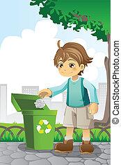 reciclaje, niño, papel