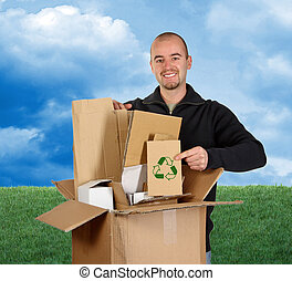 reciclaje papel, cielo, pasto o césped, hombre
