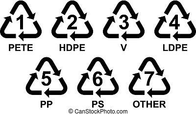 reciclaje, símbolos, conjunto, plástico