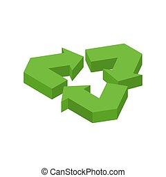 reciclaje, signo., verde, recast, símbolo., corriente,...