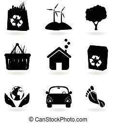 reciclaje, y, limpio, ambiente