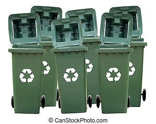reciclar, aislado, cajones