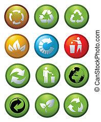 reciclar, ambiental, brillante, iconos