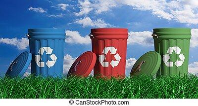 reciclar, basura, cajones, en, cielo azul, y, pasto o césped, fondo., 3d, ilustración