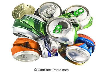 reciclar, blanco, latas, aluminio
