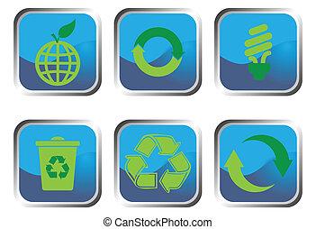 reciclar, botón, conjunto