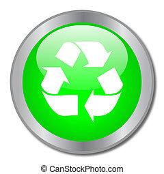reciclar, botón, verde