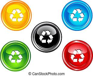 reciclar, botones