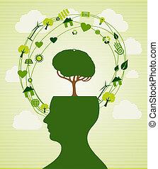 reciclar, cabeza, verde, ilustración