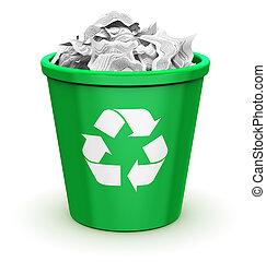 reciclar, cajón, Lleno
