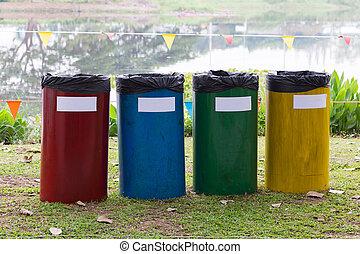 reciclar, cajones, jardín, colorido