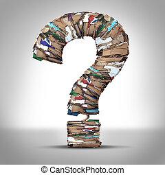 reciclar, cartón, pregunta, papel