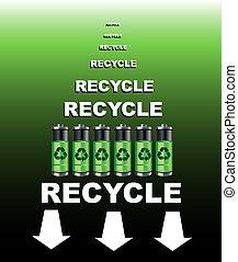 reciclar, cartel, baterías
