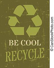 reciclar, cartel, símbolo