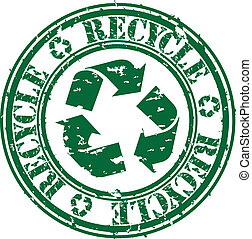 reciclar, caucho, vector, grunge, estampilla