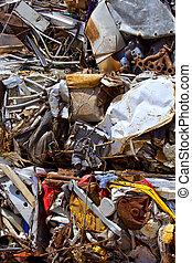 reciclar, chatarra, comprimido, hierro