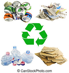 reciclar, collage, blanco, concepto