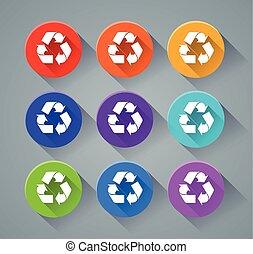 reciclar, colores, vario, iconos