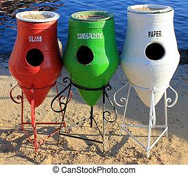 reciclar, colorido, trashcans