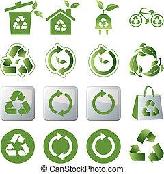 reciclar, conjunto, iconos