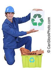 reciclar, constructor, tenencia, señal